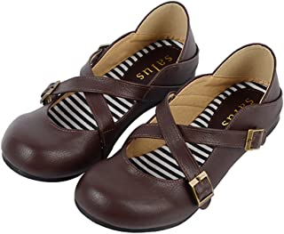 ACE SHOCK Japanese Students Uniform Dress Shoes, Lolita Oxford Flats Work Cosplay Use 5 Colors Size 5.5-7.5