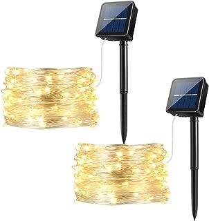 Ankway Luces Solares Cadena, Guirnalda de Luces 100 LEDs 12m Impermeable Iluminación al Aire Libre para Interior Exterior Decorativas Piscinas Jardín Entrada Fiestas Boda Decoración, Blanco Cálido