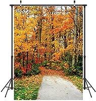 X5x7FT秋の背景黄色の木道路風景写真の背景落ち葉自然の背景写真の背景結婚披露宴の活動アートビニール写真撮影の背景CP-65
