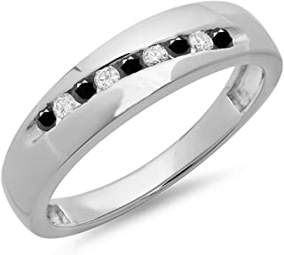 Dazzlingrock Collection 0.33 Carat (ctw) Round Cut Black & White Diamond Men's Stackable Wedding Band 1/3 CT, Sterling Silver