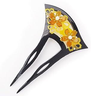 簪 花しおり バチ型 日本製 黒 黄色 べっ甲調 桜8854-2