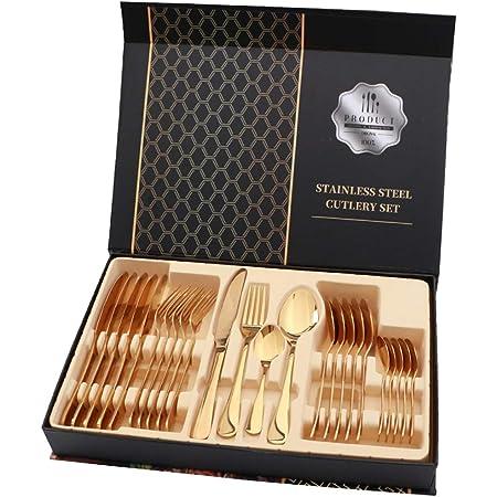 rismart 24 pièces Acier Inoxydable Couverts Argenterie Set de Posate Compris Couteaux Fourchettes cuillers à Soupe cuillers à Desserts,Or