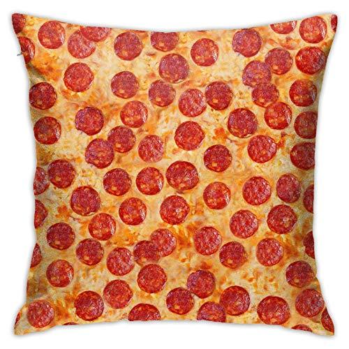 Vixato Funny Pepperoni Pizza Throw Pillow Cover 18 X 18 Inch,Premium Pillow Cushion Sham for Sofa Bed Home Decor