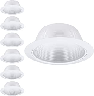 TORCHSTAR 6 Pack 6 Inch Recessed Can Light Trim, Metal Step Baffle White, for 6 inch Recessed Can, Detachable Iron Ring Included, Fit Halo/Juno Remodel Recessed Housing, Line Voltage Available