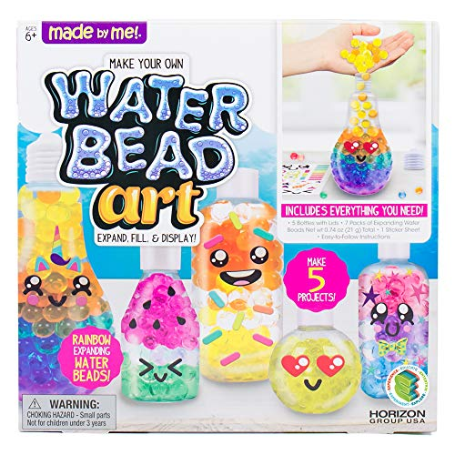Made By Me Water Bead Art by Horizon Group USA, DIY Non Toxic Kids Sensory Play Activity Kit.Layer Expanding Water Beads in 5 Fun Shaped Containers.Mix 7 Rainbow Colors, Add Fun Stickers & More