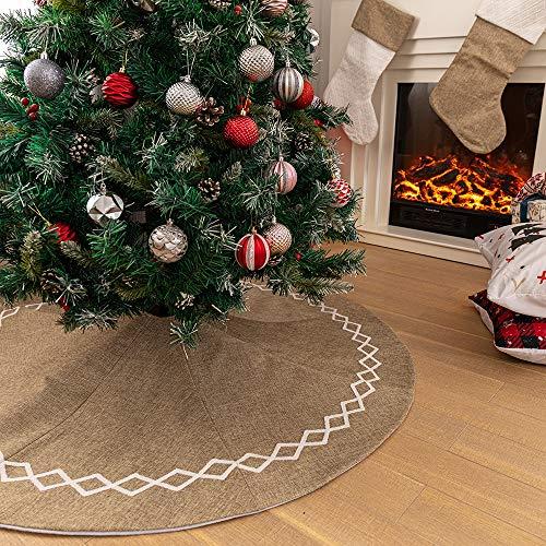 N /A Henrey Tech Weihnachtsbaum Rock Weihnachtsbaumdecke Jute 122 cm Christbaumdecke Für Xmas Party Ferienhaus Dekoration