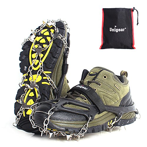 Unigear Traction Cleats Ice Snow Grips with 18 Spikes for Walking, Jogging, Climbing and Hiking (Black, X-Large)