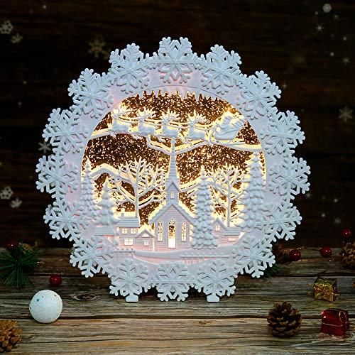 Heasylife Weihnachten Schneekugel Laterne, musikalisch beleuchtete Glitzer Wasserlaterne , Dekoration und Geschenk