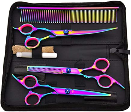 CATINBOW Pet Hair Cut Colorful Pet Scissors Set Shears Set Durable Portable Thinning Scissors for Hair Cutting,Beard,Pets Hair Cutting,for Professional Salon, Home
