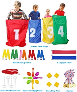 Potato Sack Race Bag Set, Children's Birthday Party Outdoor Game Set, Fun Backyard Activities for Kids - Three-Legged Race...