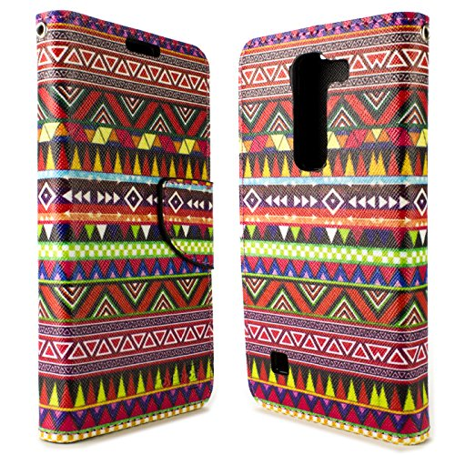 LG Volt 2 Case, Flip Stand Wallet [CoverON Carryall Pouch] Tough Textured Exterior Design [Features Credit Card ID Slots and Wristlet Strap] Phone Cover Case for LG Volt 2 - Tribal Aztec