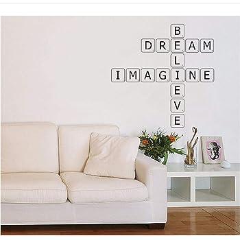 Etiqueta De La Pared Letras De Scrabble Calcomanía De Pared Niños Arte Extraíble Diy Mural Para Sala De Estar Tv Decoración De Fondo 57X68Cm: Amazon.es: Bricolaje y herramientas