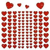 Oblique-Unique® - 106 Herz Aufkleber mit Glitzer Effekt in Rot I Herzen Sticker I Scrapbooking Dekoration Liebe Kinder Geburtstag -