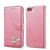 QLTYPRI iPhone 5 5S SE Hülle, Glitzer Handyhülle PU Ledertasche TPU Etui Handschlaufe Kartenfach mit Eingelegten Liebe Herz Diamond Flip Schutzhülle für iPhone 5 5S SE - Rosa