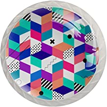 ATOMO 4 Stks Kast Knoppen voor Lade Dressoir Keuken Kasten Garderobe Badkamer Abstracte Kleurrijke Geometrische Patroon
