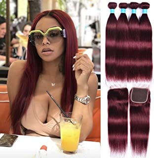 99j Burgundy Straight Hair Weaves 50g/Bundles 4 Bundles with Lace Closure 4x4 Free Part Red Wine Color 100% Unprocessed Human Hair Weft Weaves Peruvian Hair(10121416+10)
