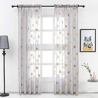Gold Star Grey Sheer Curtains - Metallic Gold Foil Star...