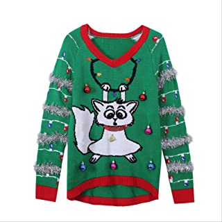 AHJSN Jumper Snowman Deer Sweaters New Santa Claus Xmas Patterned Ugly Christmas Sweaters Tops 4XL Christmas 02