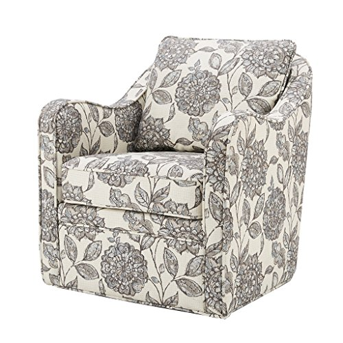 Madison Park Brianne Swivel Chair - Solid Wood, Plywood, Metal Base Accent Armchair Modern...
