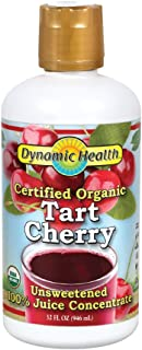 Dynamic Health Certified Organic Tart Cherry | unsweetened 100% Juice Concentrate | Vegan, Gluten-Free, Bpa-Free | 32oz, 32 Servings