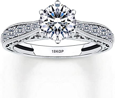AndreAngel Engagement Wedding Ring Women White Gold Plated 18K 3 Microns Thickness Round Cut 6 mm...