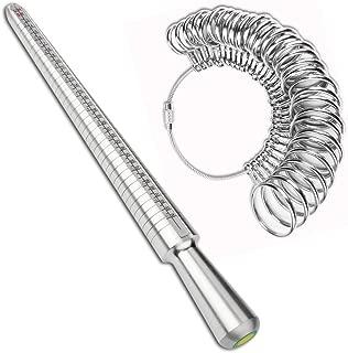 Accmor Ring Sizer Tool Including Ring Mandrel & Ring Sizer Guage, 4 Sizes Ring Measurement Stick Metal Mandrel & Finger Sizing Measuring Tool Set for Jewelry Making Measuring