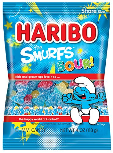 Haribo Gummi Candy The Smurfs Sour 4 oz Bag Pack of 12