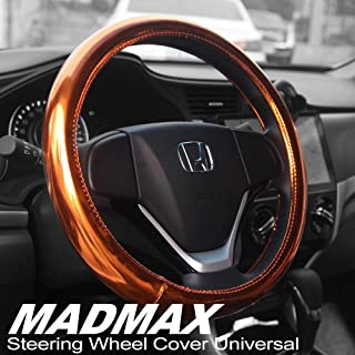 Madmax Steering Wheel Cover, Universal 14.5 Inches PU Leather Wheel Cover, Glossy Finish, Soft Padding, Durable, Odorless, Synthetic Leather, Comfort Grip Handle … (Orange)