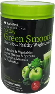 Rx Select 10 Day Green Smoothie Healthy Weight Loss Drink, 20 Servings
