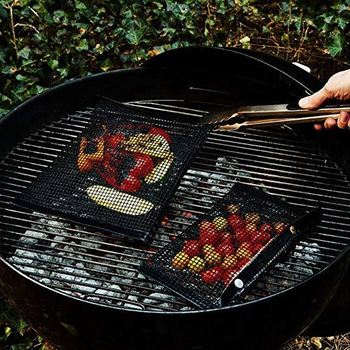 Herramienta de barbacoa resistente a altas temperaturas, bolsa de rejilla para parrilla, mano de obra exquisita, para acampar al aire libre(Black 20 * 14cm)