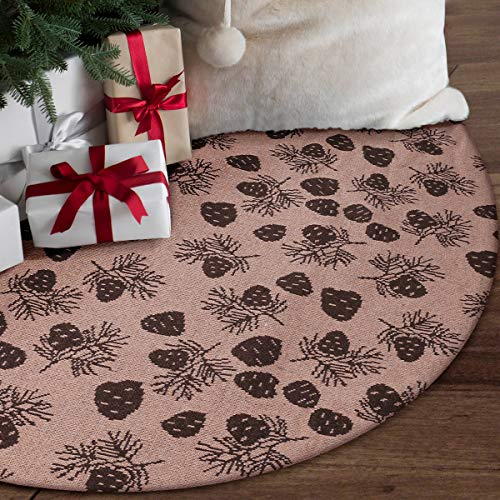 yuboo White&Gold Christmas Tree Skirt,50 inch White Faux Fur with Gold Shining Snowflakes Xmas Tree Mat (Brown)