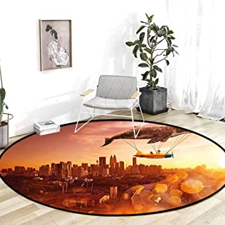 Classroom Rug Whale I Believe I Can Fly Theme with Whale Flying with Old Airship in Town Urban Scenery Dark Orange Kitchen Carpet 6.7'Round