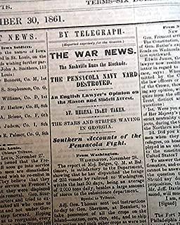 The Civil War in Florida - DAVENPORT DAILY GAZETTE, Iowa, Nov. 30, 1861 - Civil War era newspaper