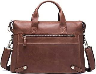 NYDZDM Mens Leather Briefcase Casual Tote Crossbody Shoulder Messenger Bag Handbag Satchel for Tablet Laptop 14 Inch (Color : Brown)