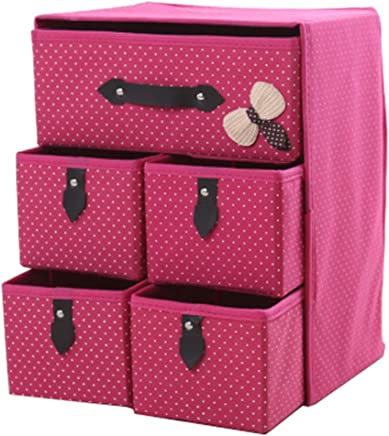 OFAY Non-Woven Storage Box Storage Box  Thick Foldable Large Capacity Drawer Box  Suitable for Underwear Cosmetics Bedroom Cabinet Pink