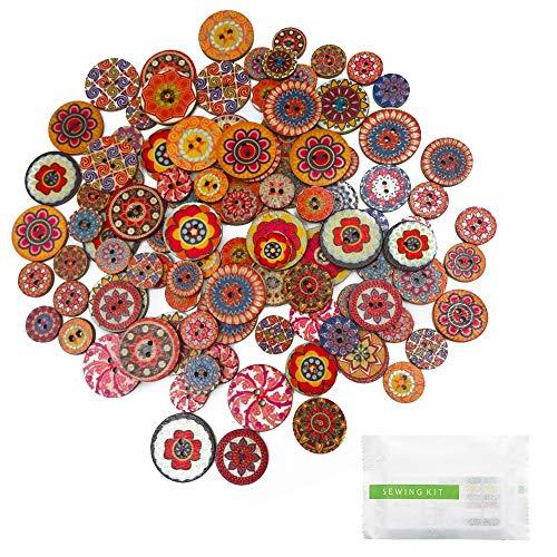 feihao 300 Piezas Botones de Colores Surtidos, Botones Redondos, para manualidades de DIY Coser Artesanía Decoraciones Hechas a Mano de Bricolaje Tamaño mixto