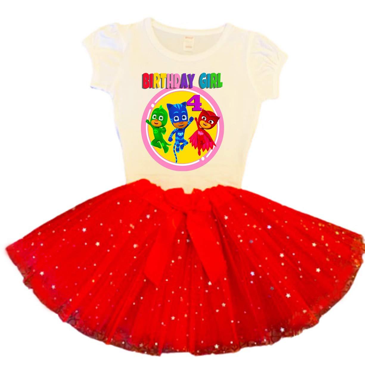 PJ Masks Birthday Tutu 4th Red Fashion Superlatite Dress Party Outfit