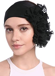 YI HENG MEI Women's Elegant Strench Chiffon Pleated Flower Hair Bands Headband Turban Cap