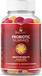 Probiotic Sugar Free Gummies - Digestive Support for Kids & Adults, 5 Billion Cfu, Pectin Based - Strawberry & Orange Flav...
