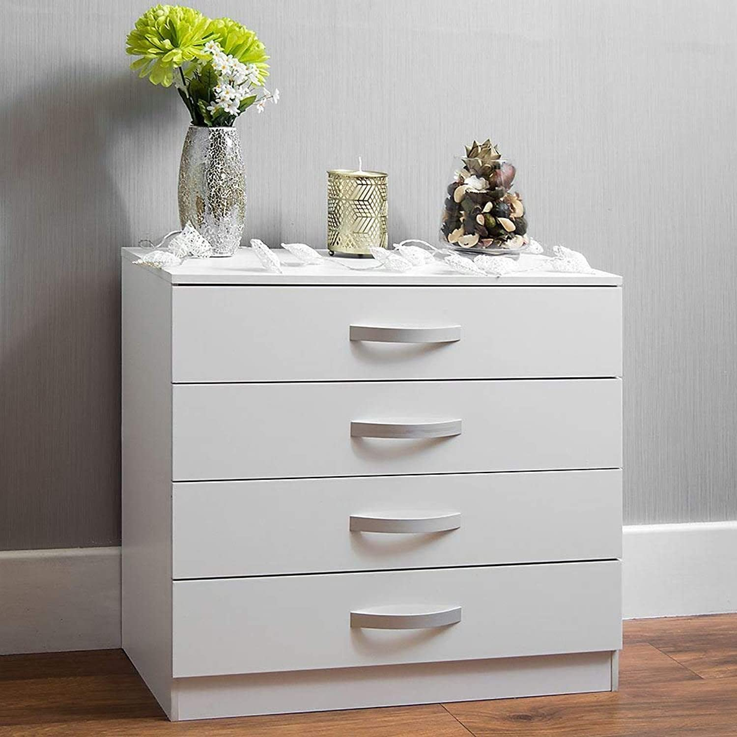 Home Hulio High Gloss Chest Of Drawers White, 4 Drawer With Metal Handles & Runners, Unique Anti-Bowing Drawer Support, Bedroom Furniture