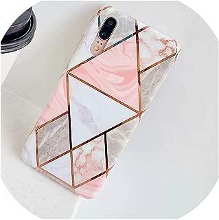 人気度Huawei P30 Pro P20 Lite用メッキ幾何シリコンケース、Huawei Mate 20 30 Lite P20 Proケースカバー用電話ケース,For Huawei P20 Pro,Pink White