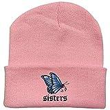 WANGIRL Nuevo Sombrero de Punto cálido Hermana Mariposa impresión patrón Hombres y Mujeres línea Lana Sombrero de una Talla LOLDF1 (Color : PinkB)