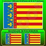 VALENCIANISCHE GEMEINSCHAFT Flagge, Fahne SPANIEN Valencia, Valencianische Gemeinschaft Spanisch 100mm Auto & Motorrad Aufkleber, Vinyl Sticker x1+2 BONUS