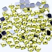 アクリルラインストーン四角形アースファセット6x6mm 100pcsフラットバック宝石の接着剤DIYの工芸品ウェディング服の装飾(12淡黄色6mm)