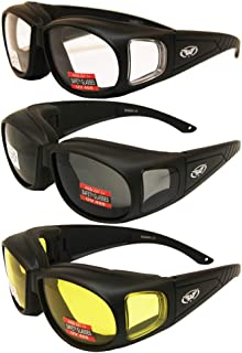 Three (3) Pairs Motorcycle Safety Sunglasses Fits Over Rx Glasses Smoke, Clear, and Yellow Day & Night & Gun Range! Usage Meets ANSI Z87.1 Standards