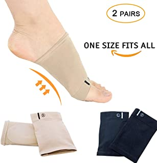 Compression Arch Support Sleeves Sock Mixed with Comfort Gel Pad, Elastic Bandage Arch Flatfoot Orthotics Massage Insoles Pads - Complexion & Black(2 Pair)
