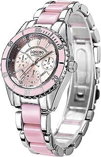wall clock, Wristwatch Three Small Dials Fashion Women Quartz Watch with Alloy & Ceramics Band LONGBO 4511 Watch,Colour Na...