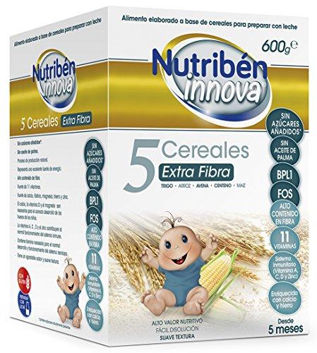 Nutribén Papillas Innova 5 Cereales Extrafibra, Sin aceite de Palma ni azucares añadidos- Alimento Para bebés- Desde Los 5 Meses- 1 unidad 600g