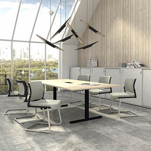 Easy Konferenztisch 240x120 cm Ahorn mit ELEKTRIFIZIERUNG Besprechungstisch Tisch, Gestellfarbe:Schwarz
