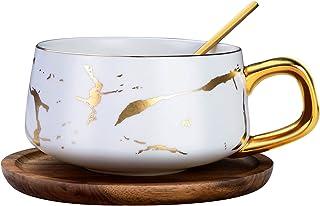 Ensemble tasse à thé et soucoupe en porcelaine avec soucoupe et cuillère, tasses en céramique pour la maison, les restaura...